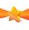 orange star with ribbon on background vector image vector image