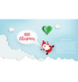 Paper art santa claus floated with heart