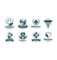 pharmacy drugstore logo or label medicine vector image vector image