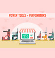 power tools online shop flat web banner vector image vector image