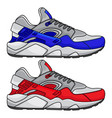 red and blue sports shoes vector image vector image