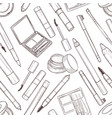 seamless pattern of sketch set makeup products vector image vector image