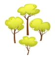 set different trees cartoon style summer green vector image