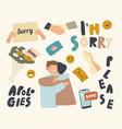 set icons apologies theme human palms vector image
