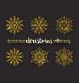 set of glitter gold ornate snowflakes vector image vector image
