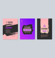 set of stroke cover design purple pink vector image