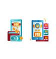 set online payment methods internet shopping vector image vector image