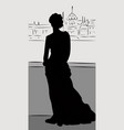 silhouette of legant woman wearing dress standing vector image vector image