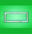 silver frame with lights effect on green vector image vector image