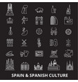 spain editable line icons set on black vector image vector image