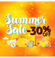 Summer Sale 30 Off Lettering over Orange Blurred vector image vector image