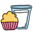 sweet cupcake pastry bakery and milk glass vector image