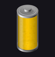 transparent glass battery yellow color vector image vector image