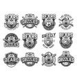 vintage monochrome sport teams emblems set vector image vector image