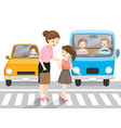 young girl leading old woman crossing the street vector image
