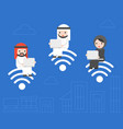 arab business people sitting on wifi symbol and vector image vector image