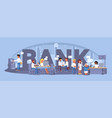 bank word with interior panorama flat color design vector image vector image