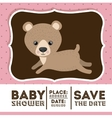 bear animal baby shower card icon vector image vector image