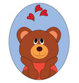 bear in love on white background vector image vector image
