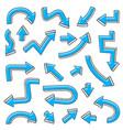 blue arrows bent hand drawn sketch vector image vector image