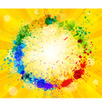 Bright sun and paint splashes vector image vector image