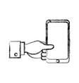 businessman hand holding smartphone app vector image vector image