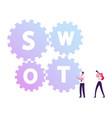 businessman moving huge cogwheels with swot vector image