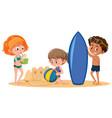 children at the summer beach vector image