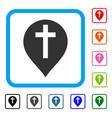 christian cross marker framed icon vector image vector image