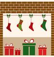 christmas fireplacegifts vector image vector image
