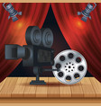cinema entertainment with reel and camera vector image vector image