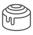 cinnamon bun roll line icon sweet and tasty vector image