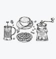 coffee sketch food concept hand drawn vintage vector image vector image