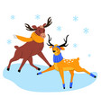 cute elk and deer on ice - flat design style vector image vector image