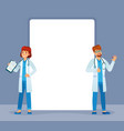 doctors stand near banner physician medic vector image
