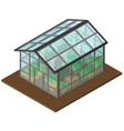 greenhouse with many plants inside in 3d design vector image