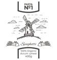 hand drawn windmill pasta or spaghetti label vector image vector image