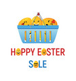 happy easter sale with smiley eggs vector image vector image