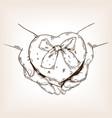 heart shaped box engraving vector image vector image
