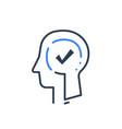 human head profile and check mark psychology vector image vector image