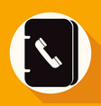 icon address book on white circle with a long vector image