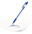 image of blue ballpoint pen writing on paper vector image vector image