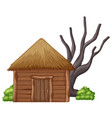 isolated wooden hut on white background vector image