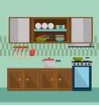 kitchen modern scene icons vector image