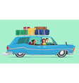 Man and woman Travel by car with his dog baggage vector image vector image