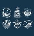 marine print set with sea ship anchor or mountain vector image vector image