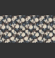 pattern with flowers roses on navy background vector image vector image