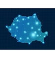 pixel Romania map with spot lights vector image vector image