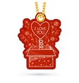 Present box with surpise Label tag hanging on vector image vector image
