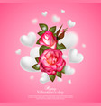 realistic 3d floral valentines day card vector image vector image